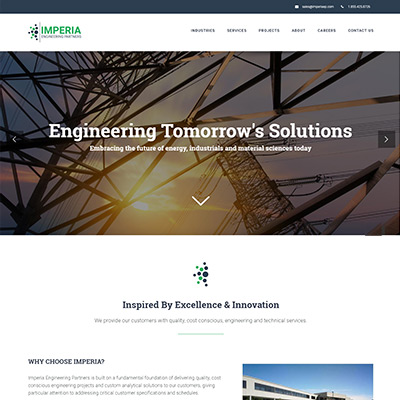 screen shot of imperia engineering partners website home page